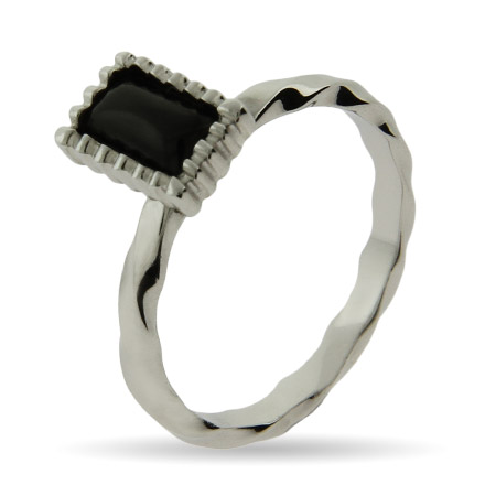 Stackable Reflections Emerald Cut Onyx Silver Stackable Ring