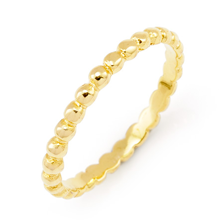 Stackable Reflections Gold Vermeil Beaded Stackable Ring