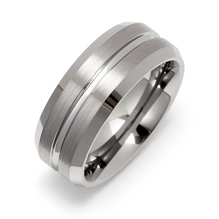 Men's Wide Groove Engravable Tungsten Wedding Band