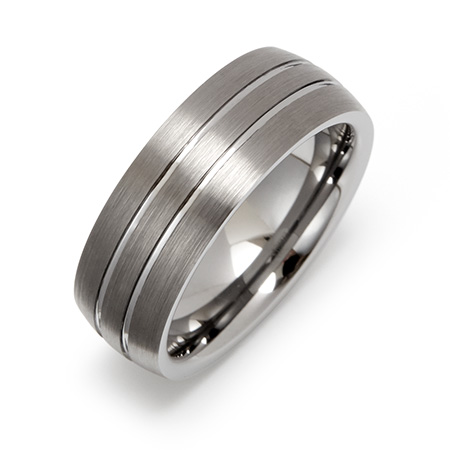 Double Grooved Brushed Finish Engravable Tungsten Ring