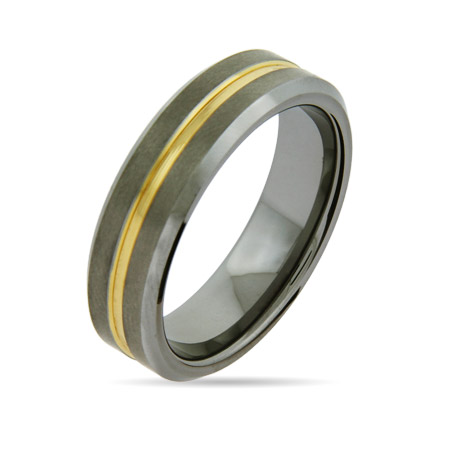 Men's 7mm Engravable Tungsten Promise Ring with Gold Inlay