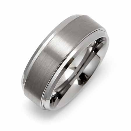8mm Raised Center Engravable Tungsten Carbide Ring