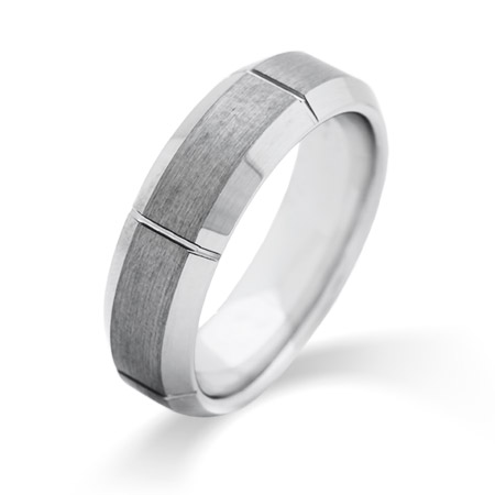 Men's Vertical Cut Engravable Tungsten Ring