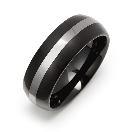 Men's Engravable Black Plate Tungsten Ring with Silver Stripe