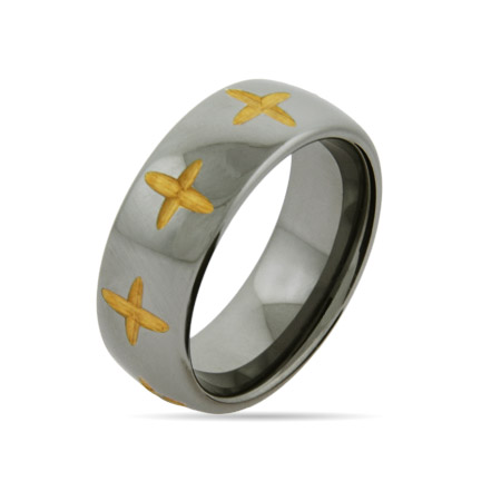 Golden Laser Cut Cross Engravable Tungsten Band