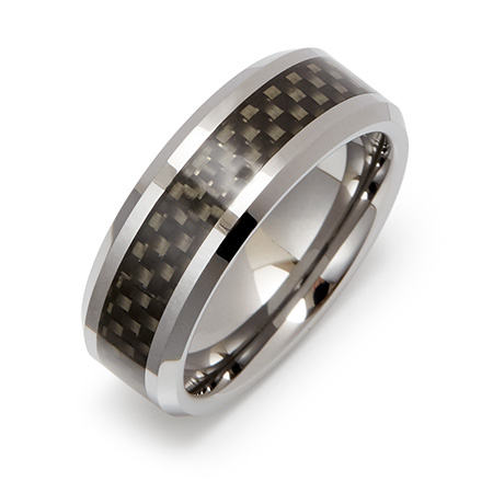 Men's Engravable Black Carbon Fiber Inlay Tungsten Ring