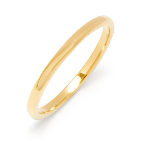 2mm Thin Gold Tungsten Wedding Band
