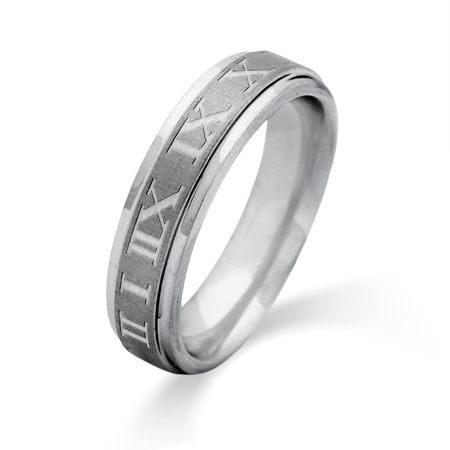 Men's 6MM Engravable Roman Numeral Tungsten Ring