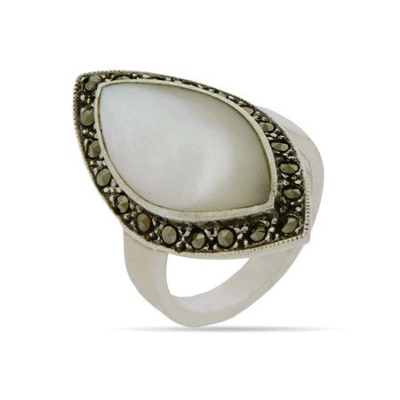 EvesAddiction.com Mother of Pearl Silver Marcasite Ring - Clearance Final Sale at Sears.com