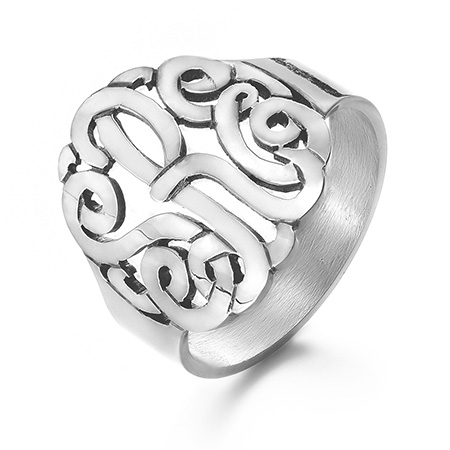 Sterling Silver Custom Monogram Ring