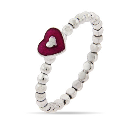 Stackable Magenta Heart Ring with Dotted Band
