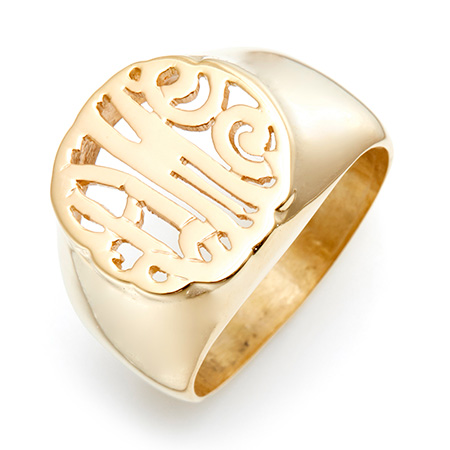 Gold Vermeil Custom Monogram Signet Ring