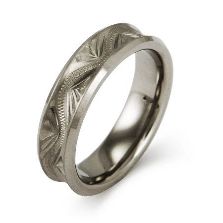 Handcrafted Carved Design Titanium 6 mm Band