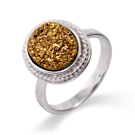 Oval Sterling Silver Cabled Golden Drusy Ring