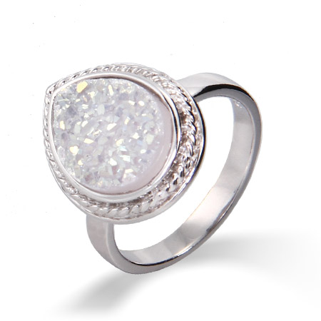 Sterling Silver Cabled Pearcut Iridescent Drusy Ring
