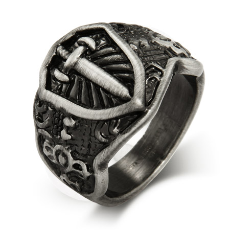 Men's Renaissance Style Engravable Shield Ring