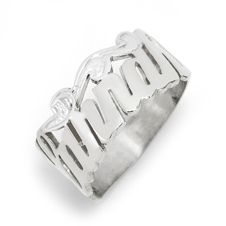 Sterling Silver Custom Script Name Ring