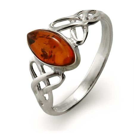Genuine Baltic Amber Silver Celtic Knot Ring