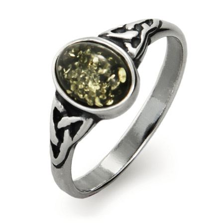 Oval Cut Green Baltic Amber Sterling Silver Celtic Knot Ring