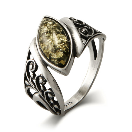 Genuine Green Baltic Amber Floral Marquise Sterling Silver Ring