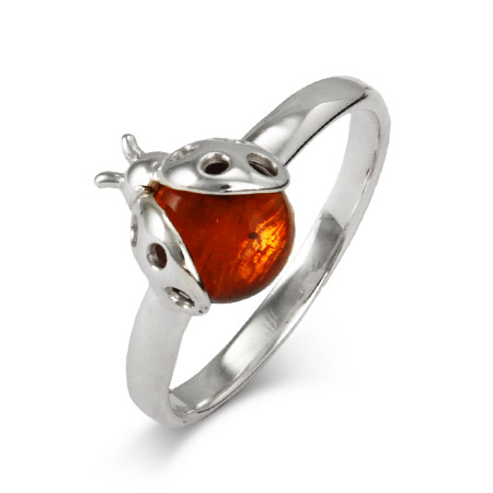Genuine Baltic Amber Sterling Silver Ladybug Ring