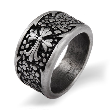 Men's Renaissance Style Engravable Cross Ring