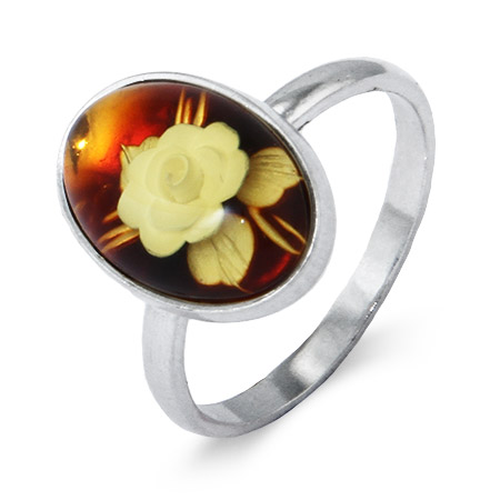 Oval Honey Amber Ring with Intaglio Carved Rose