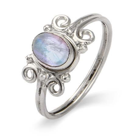 Sterling Sterling Swirl Design Moonstone Ring