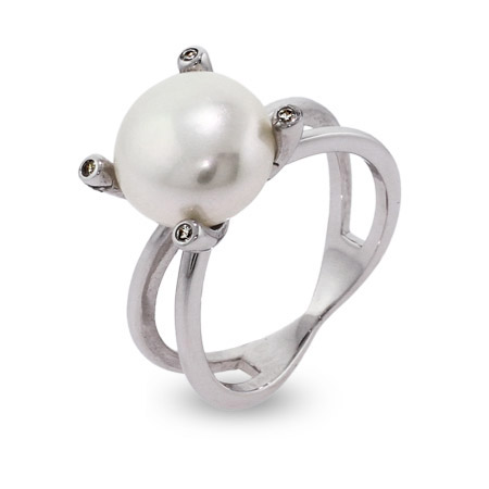 Dazzling 12mm Sterling Silver Right Hand Pearl Ring