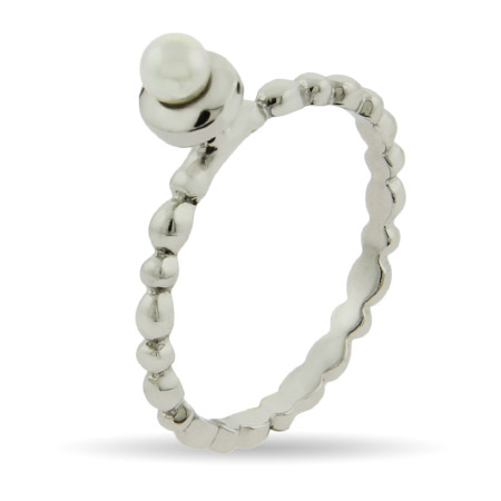 Stackable Reflections Pearl with Beaded Band Stackable Ring