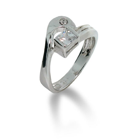 Friendship Ring in White CZ and Sterling Silver