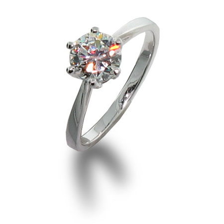 Brilliant Cut Solitaire CZ Engagement Ring