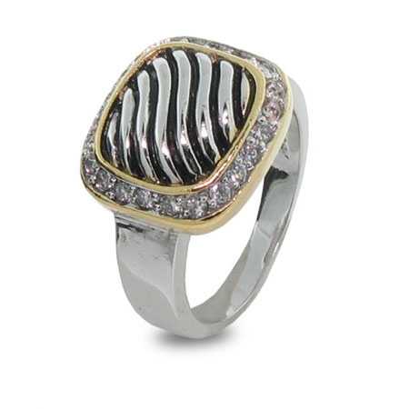 Designer Inspired Cable Face Ring with CZ Border