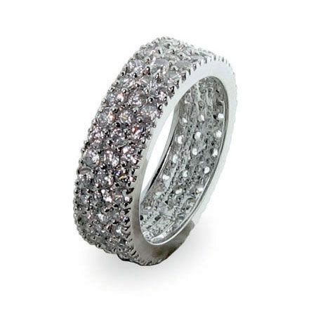 Designer Inspired Silver Band withTriple Row Cubic Zirconias
