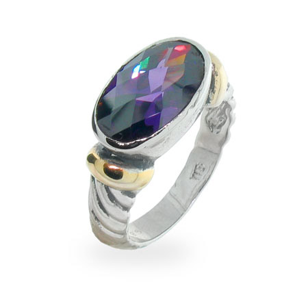 Designer Inspired Sterling Silver Oval Amethyst Cable Ring