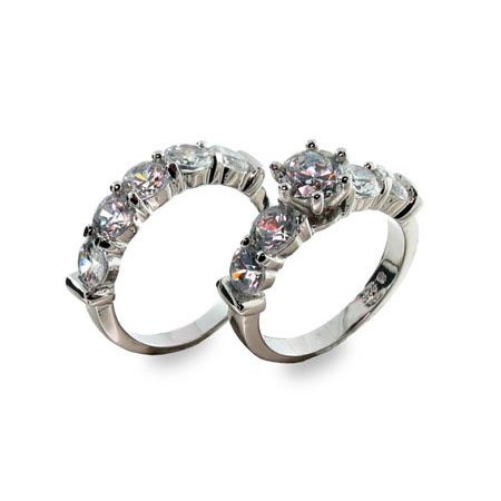 Scott Kay Inspired Elegant Diamond CZ Ring Set
