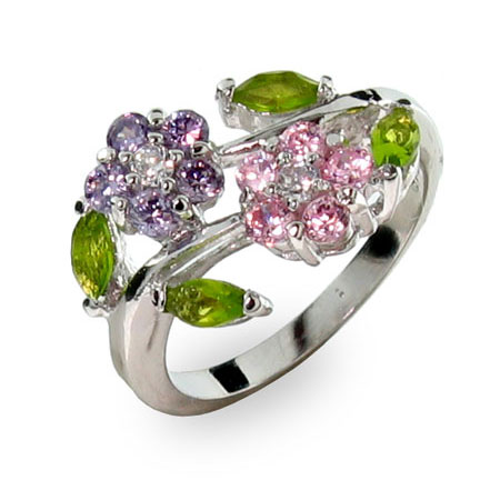 Sterling Silver Purple and Pink Flowers Ring