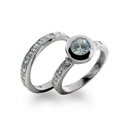 Sterling Silver Bezel Set Ring with Matching Band