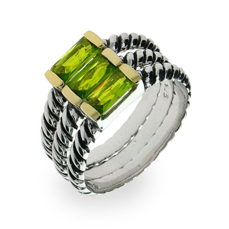 Sterling Silver Peridot Cable Stackable Ring Set