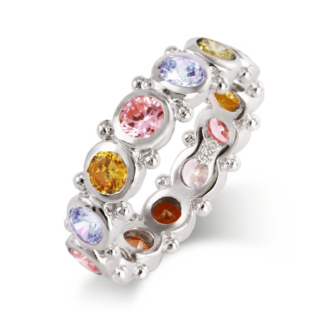 Spring Carnival Stackable Pastel CZ Band in Sterling Silver