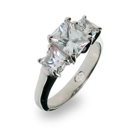 Past Present and Future 3 Stone Princess CZ Anniversary Ring