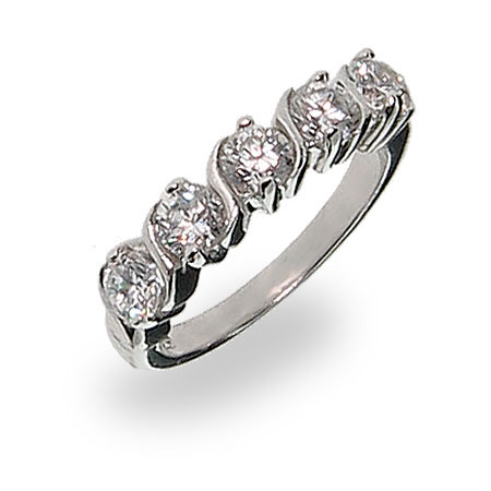 Sterling Silver Cubic Zirconia Single Wave Ring