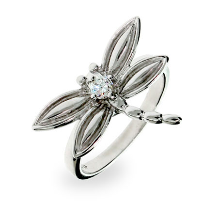 Tiffany Inspired CZ Dragonfly Ring