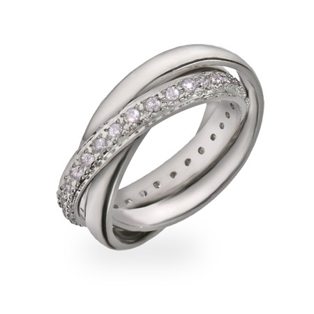 Tiffany Inspired Russian Wedding Ring with CZ Band