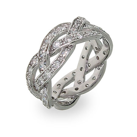 Sterling Silver Braided CZ Promise Band