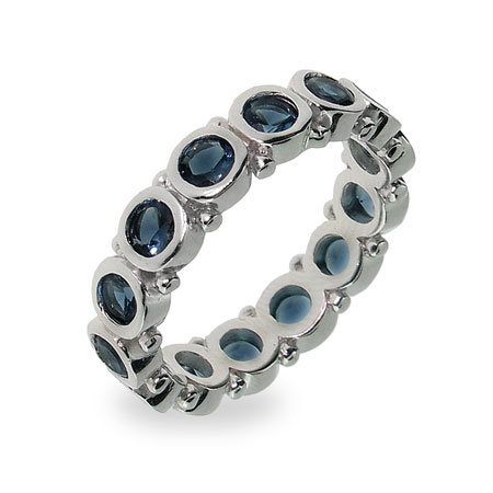 Sterling Silver Bezel Set Sapphire Eternity Band