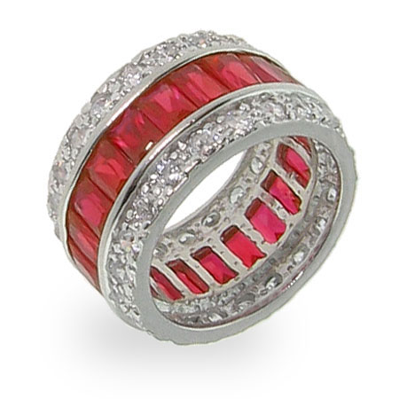 Ruby Red Sterling Silver CZ Anniversary Band