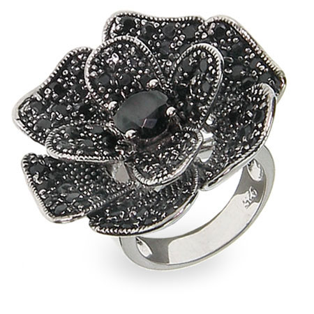 Designer Inspired Black Rose Pave CZ Cocktail Ring