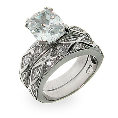 Eliza's Antique Design Emerald Cut CZ Engagement Set