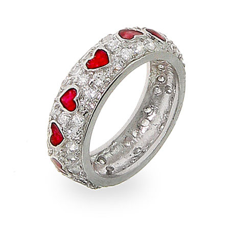 Sterling Silver Queen of Hearts CZ Ring